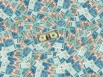 Предпосылка денег с Зимбабве 100 триллиона долларов счетов и один американского доллар Стоковые Фотографии RF