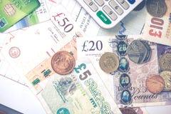 Предпосылка денег Pund стерлинговая великобританская Стоковое фото RF