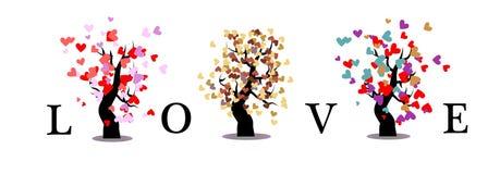 Предпосылка дерева влюбленности изолированная Стоковые Изображения