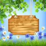 Предпосылка деревянного летнего дня доски знака естественная Стоковые Изображения RF