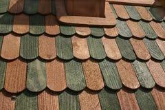 Предпосылка: деревянные уступы, решетины зеленого цвета и цвет 1 кабанины Стоковая Фотография RF