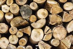 Предпосылка деревянных журналов, тема обезлесения Стоковая Фотография