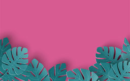 Предпосылка лета с бумагой отрезала вне тропические листья, экзотический флористический дизайн для знамени, рогульки, приглашения иллюстрация штока