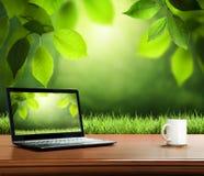 Предпосылка лета с деревянным столом Стоковое Изображение