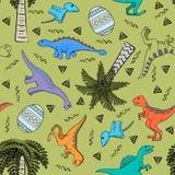 Предпосылка детей красочная с динозаврами Стоковое Изображение RF