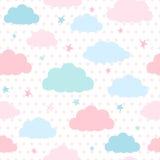Предпосылка детей с облаками и звездами Стоковое Изображение RF