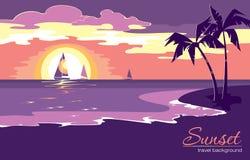 Предпосылка летнего отпуска с заходом солнца в плоском стиле дизайна Стоковая Фотография