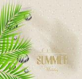Предпосылка летних отпусков с пляжем и пальмой песка иллюстрация вектора