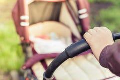 Предпосылка детской дорожной коляски на внешнем Стоковая Фотография RF