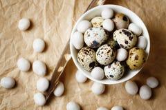Предпосылка еды с яичками триперсток Стоковые Изображения