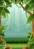 Предпосылка джунглей с лозами и горами Стоковая Фотография RF