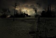 Предпосылка загрязнила промышленный город Стоковое Изображение RF