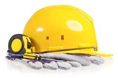 предпосылка закрепляя белизну путя трудного шлема изолированную Стоковое Изображение