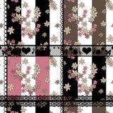 Предпосылка заплатки безшовного цветочного узора ретро Стоковые Изображения RF