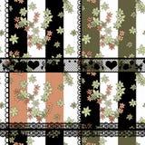 Предпосылка заплатки безшовного цветочного узора ретро Стоковое Изображение RF