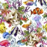 Предпосылка затрапезной морской жизни акварели безшовная иллюстрация штока