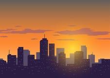 Предпосылка захода солнца города Стоковые Изображения
