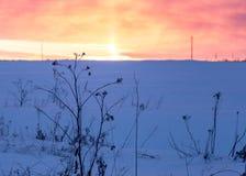 Предпосылка захода солнца зимы стоковые изображения