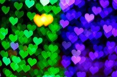 Предпосылка зеленых и голубых сердец Стоковые Изображения RF