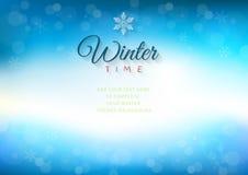 Предпосылка зимнего времени с текстом - иллюстрацией Стоковые Фотографии RF
