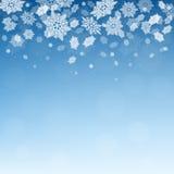 Предпосылка зимы рождества голубая с падая снежинками Стоковые Изображения RF