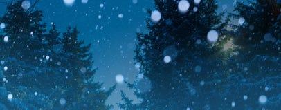Предпосылка зимы рождества искусства; снежный ландшафт стоковое фото rf