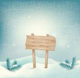 Предпосылка зимы рождества с деревянными знаком и l иллюстрация штока