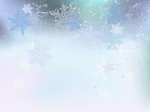 Предпосылка зимы, снежинки - иллюстрация вектора Стоковые Изображения RF