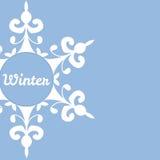 Предпосылка зимы с абстрактной снежинкой Стоковая Фотография