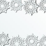 Предпосылка зимы с бумажными снежинками Стоковая Фотография RF