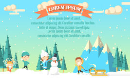 Предпосылка зимы с детьми Стоковые Фотографии RF