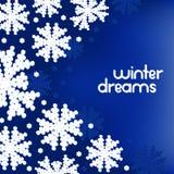 Предпосылка зимы с снежинками и место для вашего текста Стоковые Фото