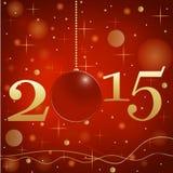 Предпосылка 2015 зимы с шариками рождества Стоковая Фотография RF