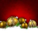 Предпосылка зимы с шариками рождества Стоковое Изображение RF