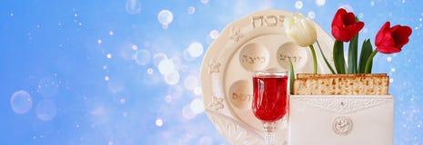 Предпосылка знамени вебсайта концепции торжества Pesah (еврейский праздник еврейской пасхи) Стоковое Фото