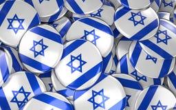 Предпосылка значков Израиля - куча израильских кнопок флага Стоковые Фото