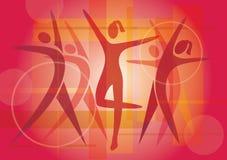 Предпосылка значков танцев фитнеса Стоковые Фотографии RF