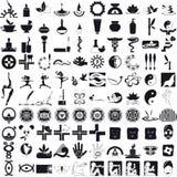 Предпосылка значков черным по белому Стоковые Фотографии RF