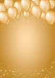 Предпосылка золота с границей сердец и воздушных шаров Стоковые Фото
