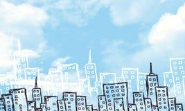Предпосылка зданий и облаков эскизов Стоковые Фото
