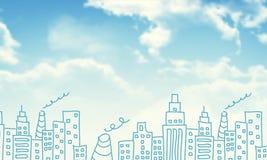 Предпосылка зданий и облаков эскизов Стоковая Фотография RF