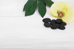 Предпосылка здоровья с цветками орхидеи и инструментами курорта: сливк, лосьон, полотенце и Стоковые Фотографии RF