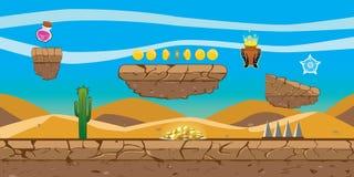 Предпосылка игры платформы пустыни иллюстрация вектора