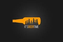 Предпосылка дизайна концепции пивной бутылки Стоковые Изображения
