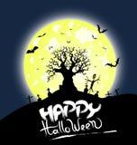 Предпосылка дизайна сообщения хеллоуина дерева счастливая Стоковые Изображения RF