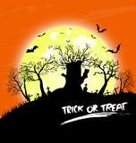 Предпосылка дизайна сообщения хеллоуина дерева счастливая Стоковые Фотографии RF