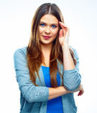 Предпосылка изолированная женщиной белая думает позитв Изолированная женщина Стоковые Фото