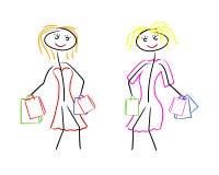 предпосылка изолированная над женщинами покупкы белыми Стоковая Фотография RF