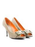 предпосылка изолированная над женщиной ботинок белой Стоковые Фото