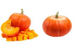 предпосылка изолировала белизну тыквы Свежие и оранжевые тыквы Стоковая Фотография RF